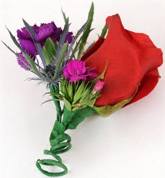 Red-Purple Corsage & Boutonniere Package