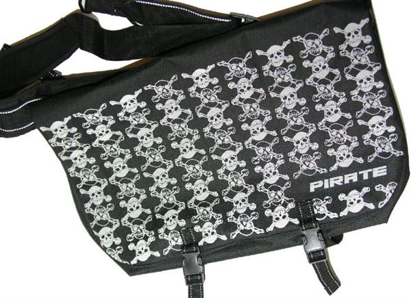 Pirate Large Black Bike Messenger Bag with Reflective Print