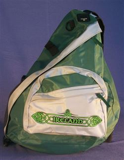 Ireland sling bag backpack, green embroidered