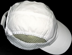 White Nylon Mesh Running Cap
