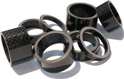 "Black carbon headset spacer kit 1-1/8"" , 5 10 15 20 mm height spacers"