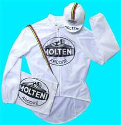 Cycling Rain Jacket Molteni White PVC Pro Team