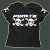 Pirate Skull babydoll stretchy tight Girlie T-shirt Black