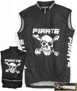 Pirate Cycling Jersey BLACK Sleeveless, XS-4XL