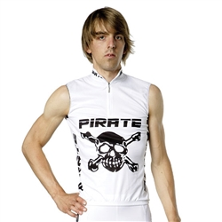 Pirate Cycling Jersey WHITE Sleeveless, XS-3XL