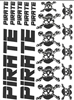 Pirate Logo Sticker Set, 18 pieces. also in white and silver colors.