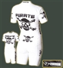 Pirate Cycling Time Trial Suit, WHITE Short Sleeve skinsuit, no padding