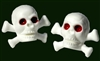 Pirate Valve Caps (Schrader), WHITE, Skull Crossbone