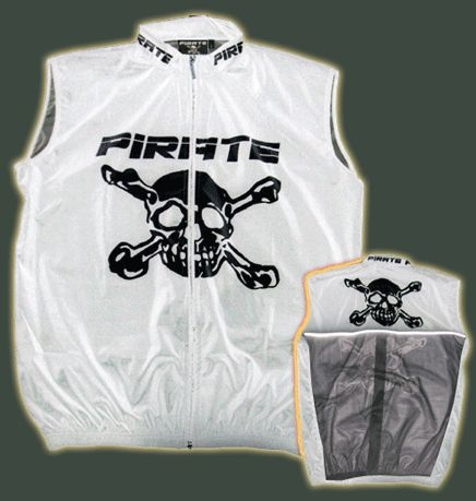 Pirate White Cycling Skull Bones Wind Vest