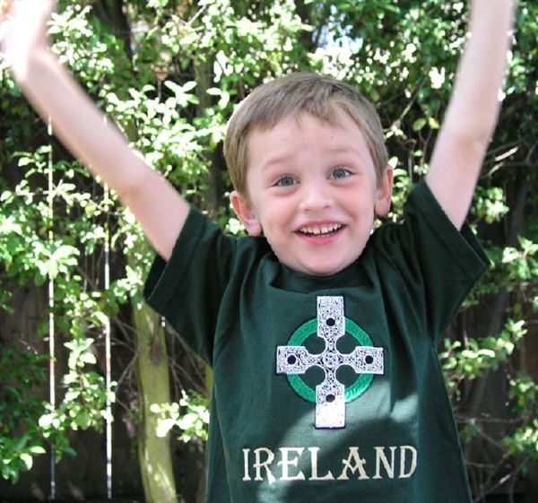 Children's Youth Kids Ireland embroidered Crew T-Shirt, Forest Green