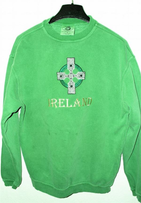 CLOSE OUT! Ireland embroidered Crew Sweatshirt, Clover Green