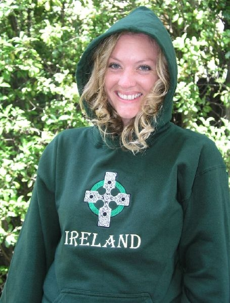 Irish Embroidered Hooded Sweatshirt Celtic Ireland , Forest Green