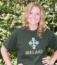 Adult's Ireland embroidered Crew T-Shirt, Forest Green