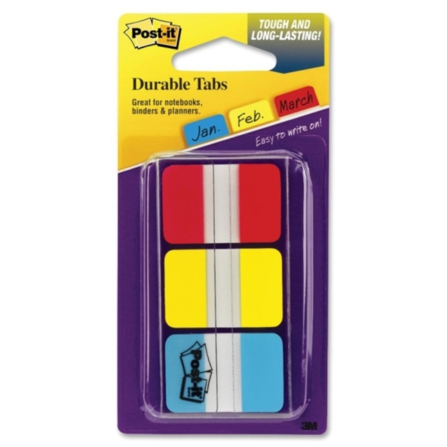 3M 686-Ryb Post-It Durable Tabs Red Yellow Blue 1 In X 1.5 22/Tabs/Per Color