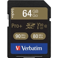 Verbatim Corporation 49197 64Gb Pro Plus 600X Sdxc Memory Card Uhs-I V30 U3