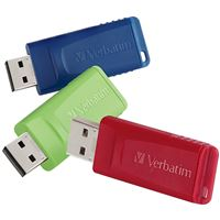 Verbatim Corporation 98703 3Pk 8Gb Flash Drive Usb 2.0 Sng Red Green And Blue