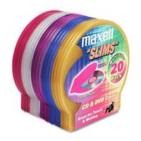 Maxell 190073 20Pk Disc Case Shells Color 5Mm Jewel Cases