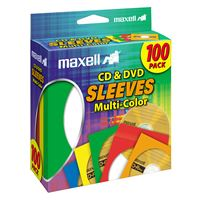 Maxell 190132 Cd/Dvd Sleeves Multi-Color 100Pk