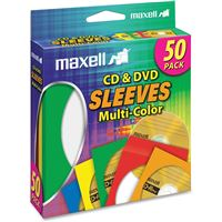 Maxell 190134 Cd-401 Cd/Dvd Sleeve Multi-Color 50Pk
