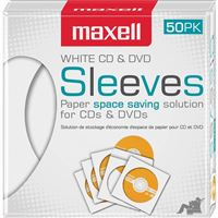 MAXELL 190135 CD400 CD / DVD STORAGE SLEEVES WHITE 50 PK