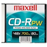 Maxell 648721 Cd-R 700 Printable Disc White Matte 48X Single/Jewel Case