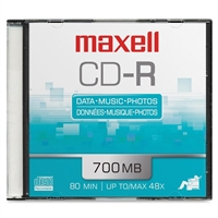 Maxell 648201 Cd-R 48X 80 Min Branded Slim Jewel