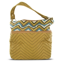Travelon F09710 850000 Quilted Nylon Zip-Top Train Case Tan/Zig Zag Pattern