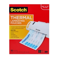3M Tp3854-100 Scotch Thermal Pouches Letter Size 3 Mil Thick 8.9In X 11.4 In