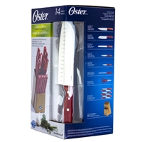 Oster 81011.14 Evansville 14 Piece Stainless Steel Cutlery Set Red Handles