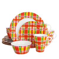 Oui By French Bull 100806.16 Multicolor Plaid 16 Piece Round Porcelain