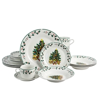 Gibson Home 108171.20 20 Piece Ceramic Christmas Tree Trimming Dinnerware Set