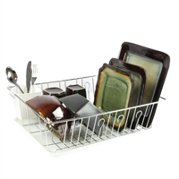 Megachef Dr-102 17.5 Inch White Single Level Dish Rack 14 Plate Positioners And