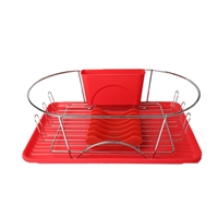 Megachef Dr-115 17 Inch Red And Silver Dish Rack Detachable Utensil Holder A 6