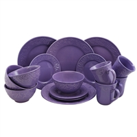 Elama Elm-Lilac-Fields Lilac Fields 16-Piece Dinnerware Set
