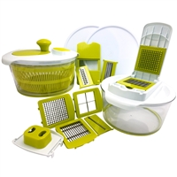 Megachef Mgsalad-Spinner-Multi-Slcrdcr 10-In-1 Multi-Use Salad Spinning Slicer