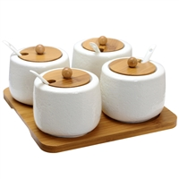 Elama El-531 Ceramic Spice Jam And Salsa Jars Bamboo Lids And Serving Spoons