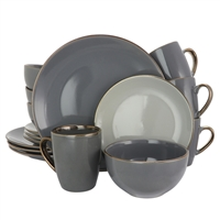 Elama El-Tahitiangrand Tahitian Grand 16 Piece Stoneware Dinnerware Set In Gray