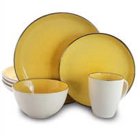 Elama El-Mellowyellow Mellow-Yellow 16-Piece Dinnerware Set