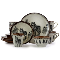 Elama El-Majesticwolf16 Majestic Wolf 16 Piece Luxurious Stoneware Dinnerware