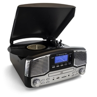 Trexonic Trx-16Blk Retro Wireless Bluetooth Record And Cd Player In Black