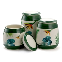 Elama El-Paradisepalms-Green-3 3 Piece Ceramic Kitchen Canister Collection In