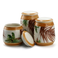 Elama El-Paradisepalms-Sand-3 3 Piece Ceramic Kitchen Canister Collection In