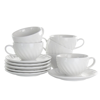 Elama El-Clancy Clancy 12 Piece Porcelain Cup And Saucer Set In White