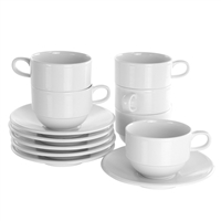 Elama El-Drew Drew 12 Piece Porcelain Cup And Saucer Set In White
