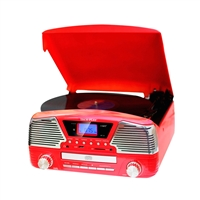 Techplay Odc35-Rd 3 Speed Turntable Programmable Mp3 Cd Player Usb/Sd Radio And