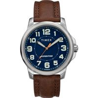 Timex Tw4B16000Jv Men'S Expeditionr Metal Field Watch Blue Dial/Brown Strap