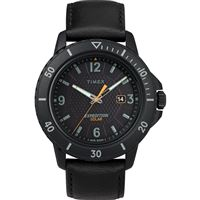Timex Tw4B14700Jv Gallatin Solar Watch Leather Strap/Black Dial