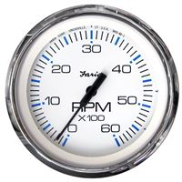"Faria Beede Instruments 33807 Chesapeake White Ss 4"" Tachometer 6 000 Rpm Gas"