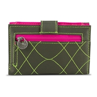 Travelon 22996-420 Safeid Embroidered Tri-Fold Rfid Wallet Olive/Berry