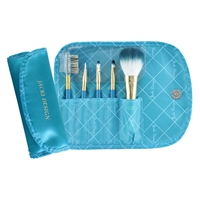 Jacki Design Fyd33103Tq Vintage Allure 5 Pc Make Up Brush Set And Bag Turquoise